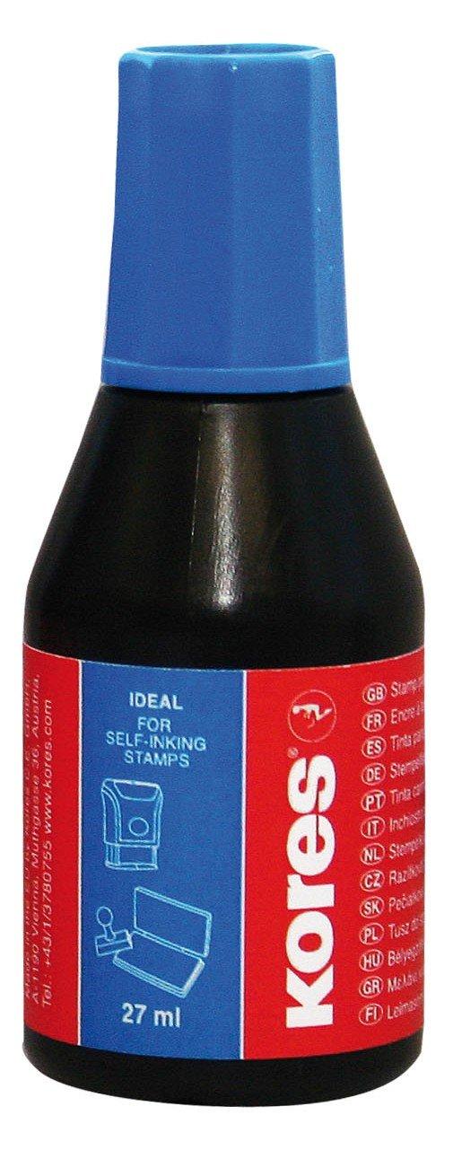 Pelikan - Inchiostro senza olio per timbri, 27 ml, confezione da 10, colore: blu Kores 19023800713084