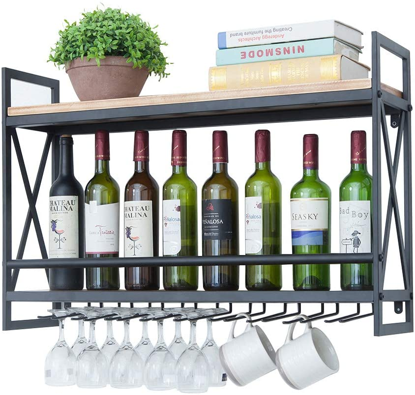 Bronze,23.6in Industrial Wine Racks Wall Mounted with 6 Stem Glass Holder,2-Tiers Wall Mount Bottle Holder Glass Rack,Rustic Metal Hanging Wine Holder,Wood Shelves Wall Shelf Wine Accessories