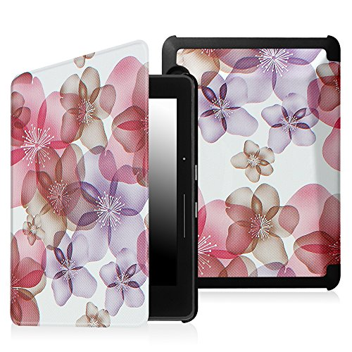 Fintie Case for Kindle Voyage - [The Thinnest and Lightest] Protective PU Leather Slim Shell Cover with Auto Sleep / Wake for Amazon Kindle Voyage (2014), Flower Purple