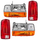 8 Pc Set Headlights, Taillights w/Park Signal Corner & Side Marker Lamps Replacement for Ford Bronco F150 F250 F350 Styleside Pickup Truck