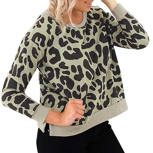 Women Fashion Leopard Print Pullover Long Sleeve Sweatshirt (Green,S)