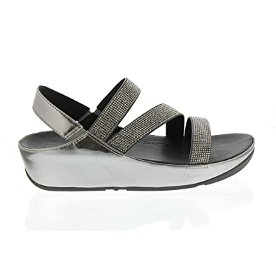 Fitflop Womens Crystall Z-Strap Sandals - Pewter