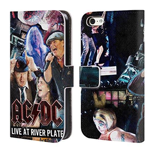 Officiel AC/DC ACDC Concert Collage Étui Coque De Livre En Cuir Pour Apple iPhone 5c