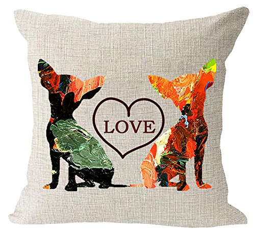 Oil Painting Lovely Cute pet Animal Chihuahua Dog Cotton Linen Square Throw Waist Pillow Case Decorative Cushion Cover Pillowcase Sofa 18x18 inches