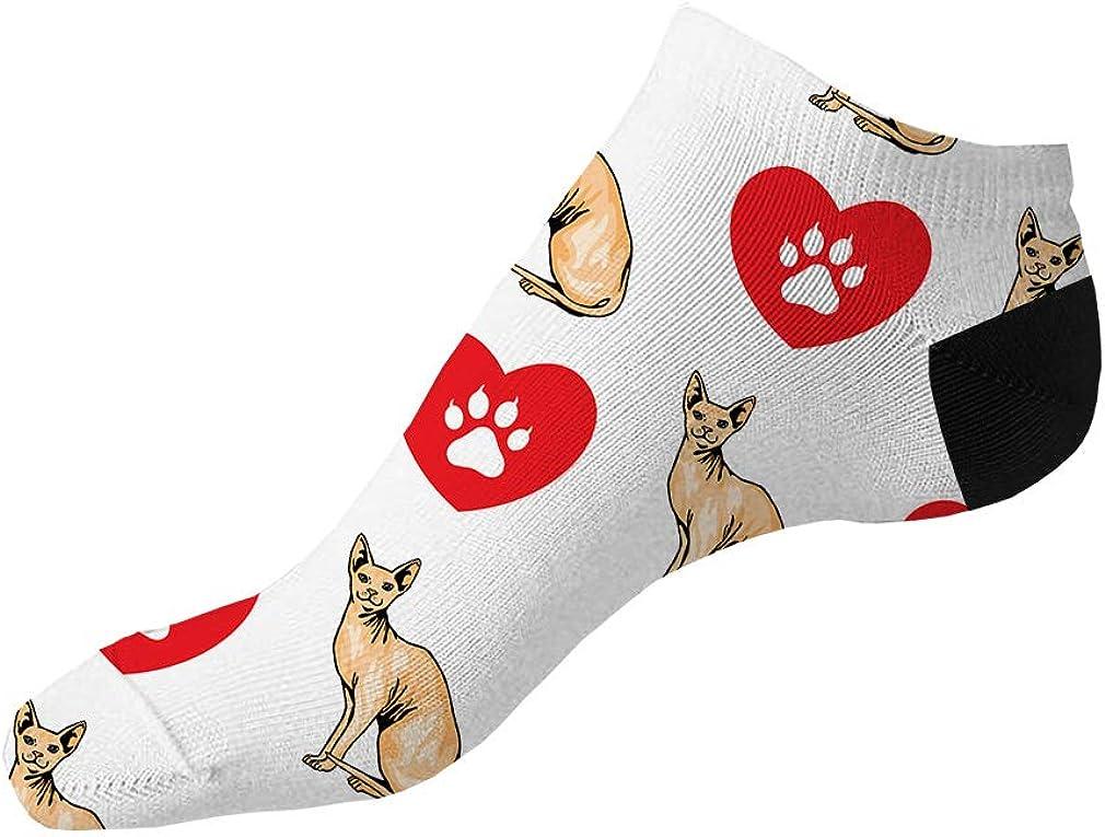 Sphinx Cat Heart Paws Pattern #1 Men-Women Adult Ankle Socks Novelty Socks