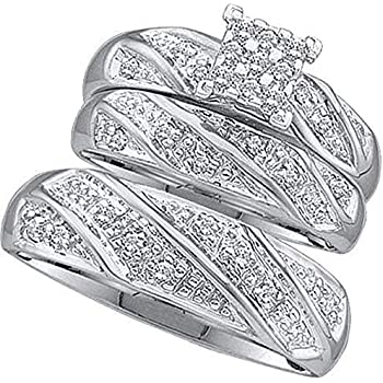 Amazoncom His Her Wedding Rings Set Trio Men Women 14k White Gold