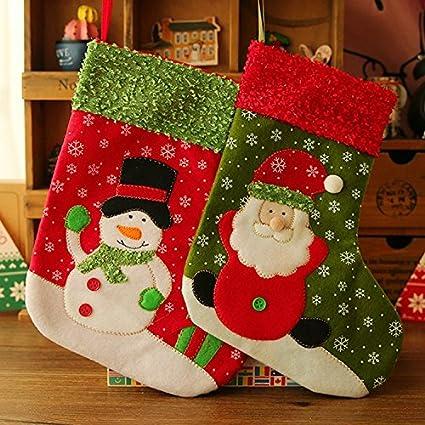 Veewon 2 x bolsas de regalo de Navidad medias calcetines Candy bolsa para colgar, diseño