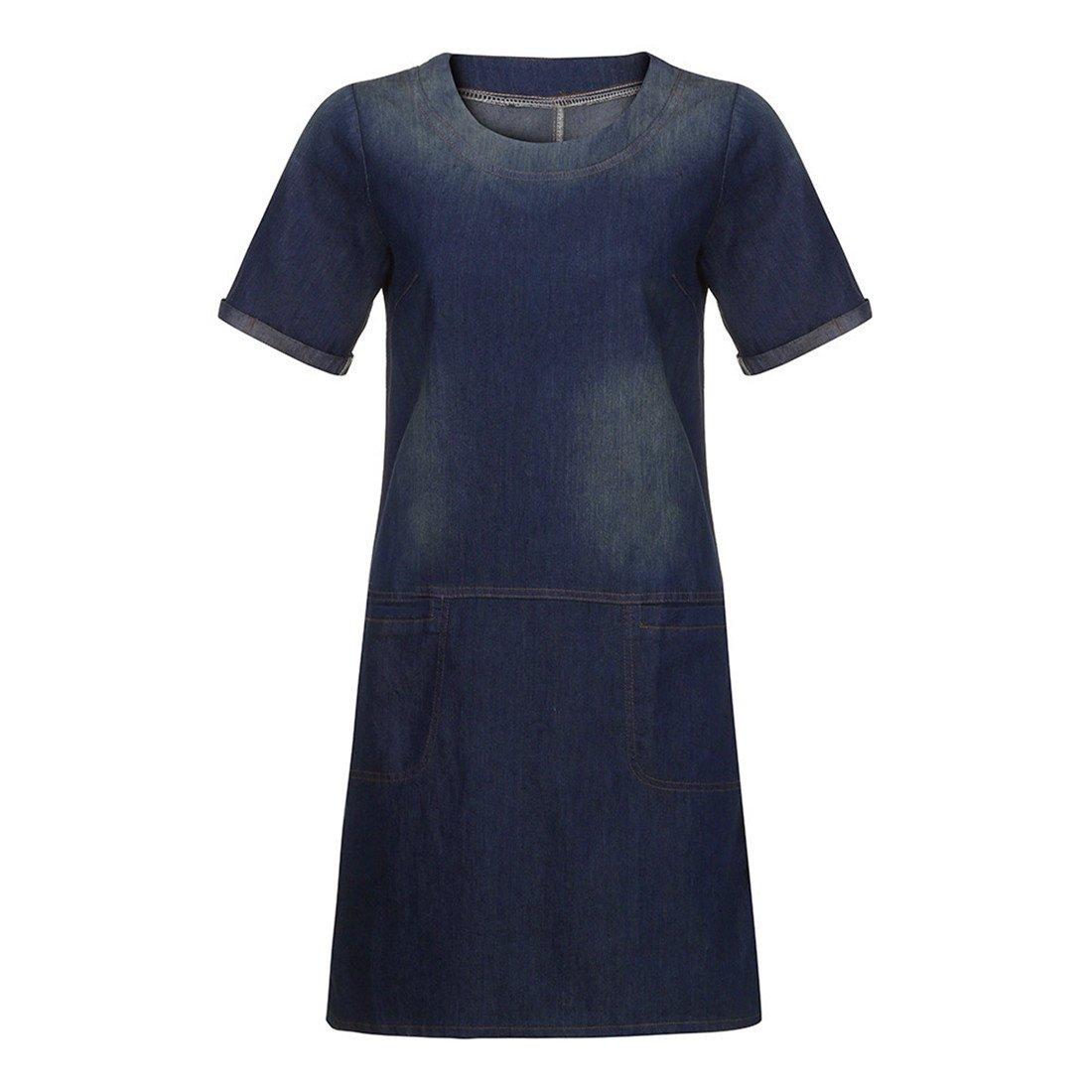 Womens Dresses,Womens Dresses Summer,Womens Dresses Elegant,Womens Dress Casual,Moonuy,Girl Ladies Plus Size Denim Shirt Pocket Loose Casual Short Mini ...