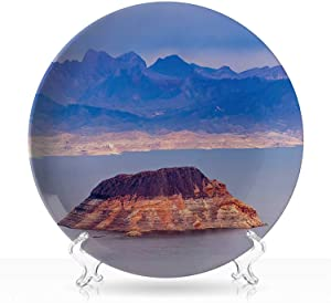 "Mead Lake Hoover Dam,Circular Shapes Plate Las Vegas for Home,7 inch 8""Inch"
