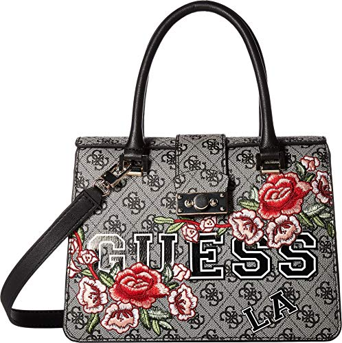 GUESS Women's Vikky Small Satchel Black Floral One Size