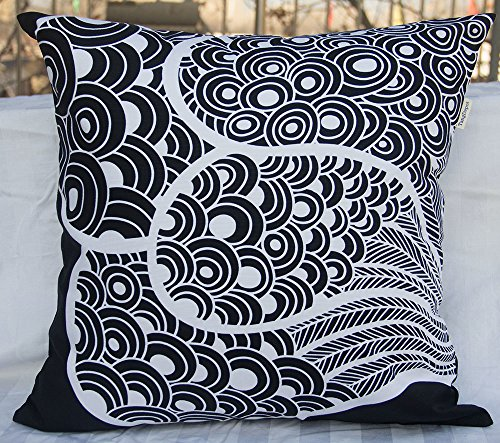 "Price comparison product image TangDepot 100% Cotton Floral/Flower Printcloth Decorative Throw Pillow Covers/Handmade Pillow Shams - Many Colors, Sizes Avaliable - (24""x24"", S38 Black Peacock)"
