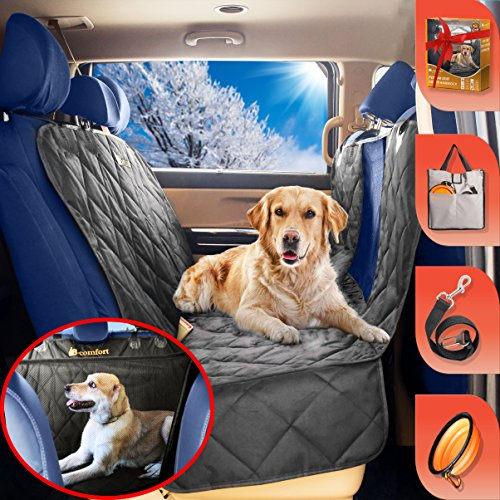 B-comfort Pet Car Seat Cover for Dogs-Unique Clear View Window-Large Luxury Backseat Dog Hammock w Side Flaps-Waterproof Rear Bench Protector for Back Seat-For Vehicles-SUV-Small Trucks-Black-54x58