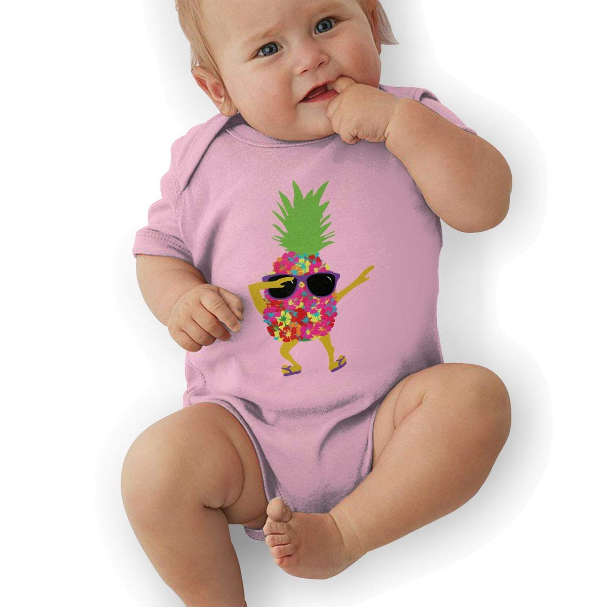 BONLOR Dabbing Cool Sunglasses Pineapple Baby Rompers One Piece Jumpsuits Summer Outfits Clothes Pink