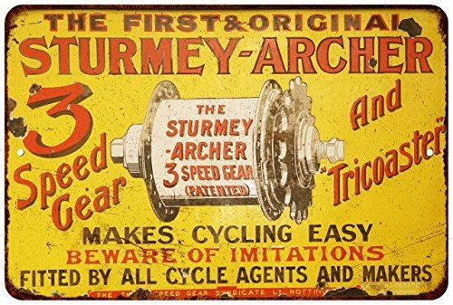 Sturmey Archer 3 Speed Gear Vintage Reproduction Metal Sign