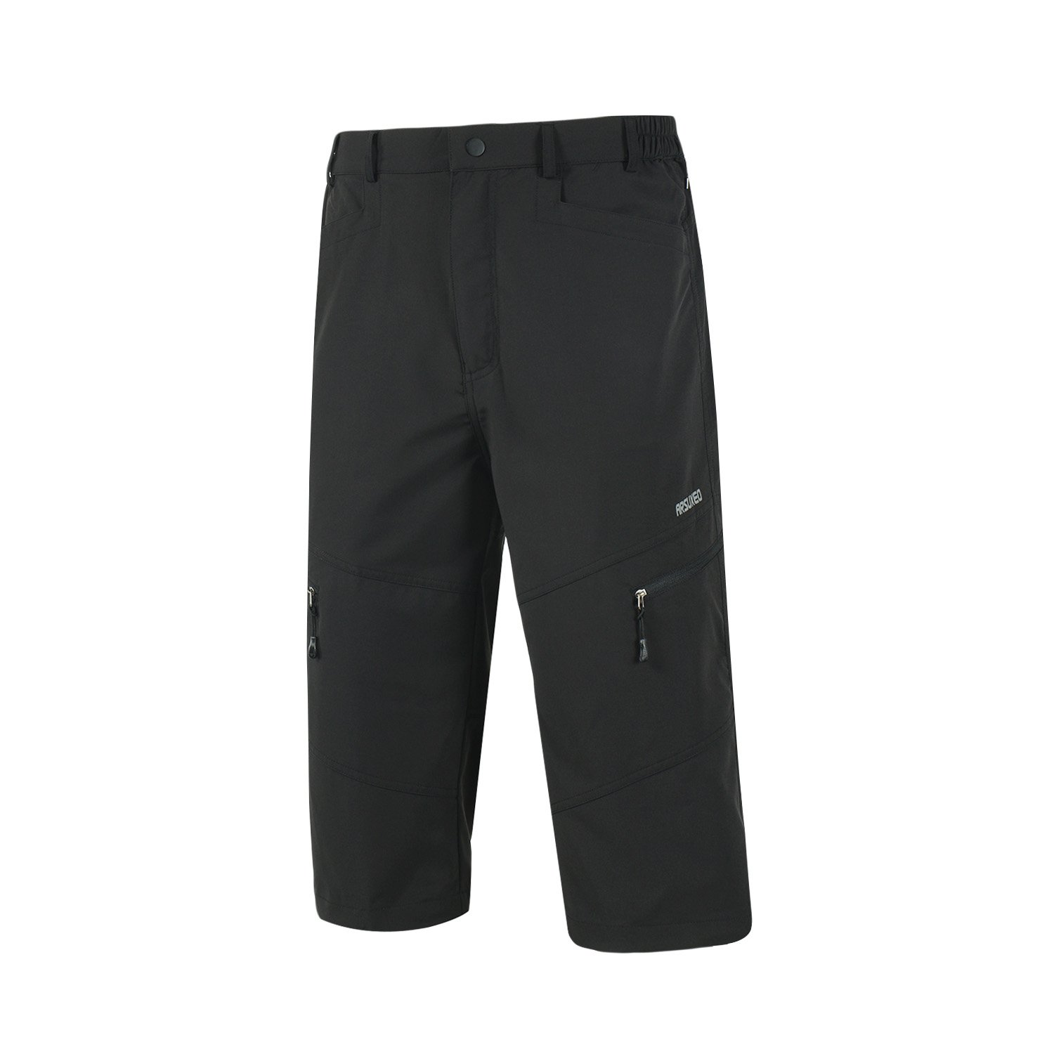 TOFERN Men's Summer Running Pants Capri 3/4 Outdoor Sports Hiking Cycling Cropped Trousers with Belt Quick Dry