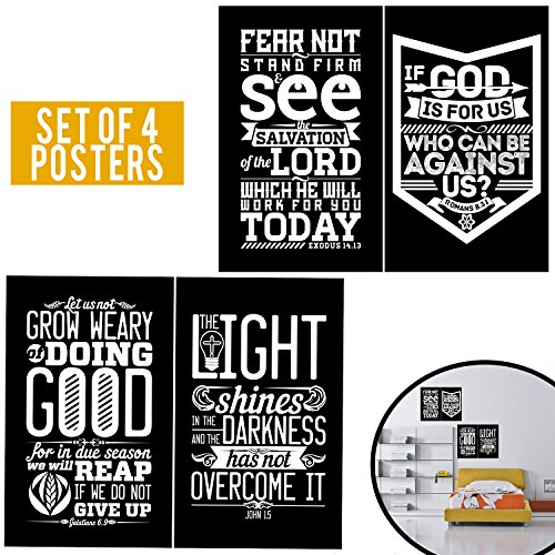 Limited Edition: ELEGANT Set Of Four 11X17 - Spiritual Wall Decor With Quotes About of Bible! Black & White Poster Arts for Christians, Office Decor For Minister & Pastor Gifts! 1MM Thick Cardboard!