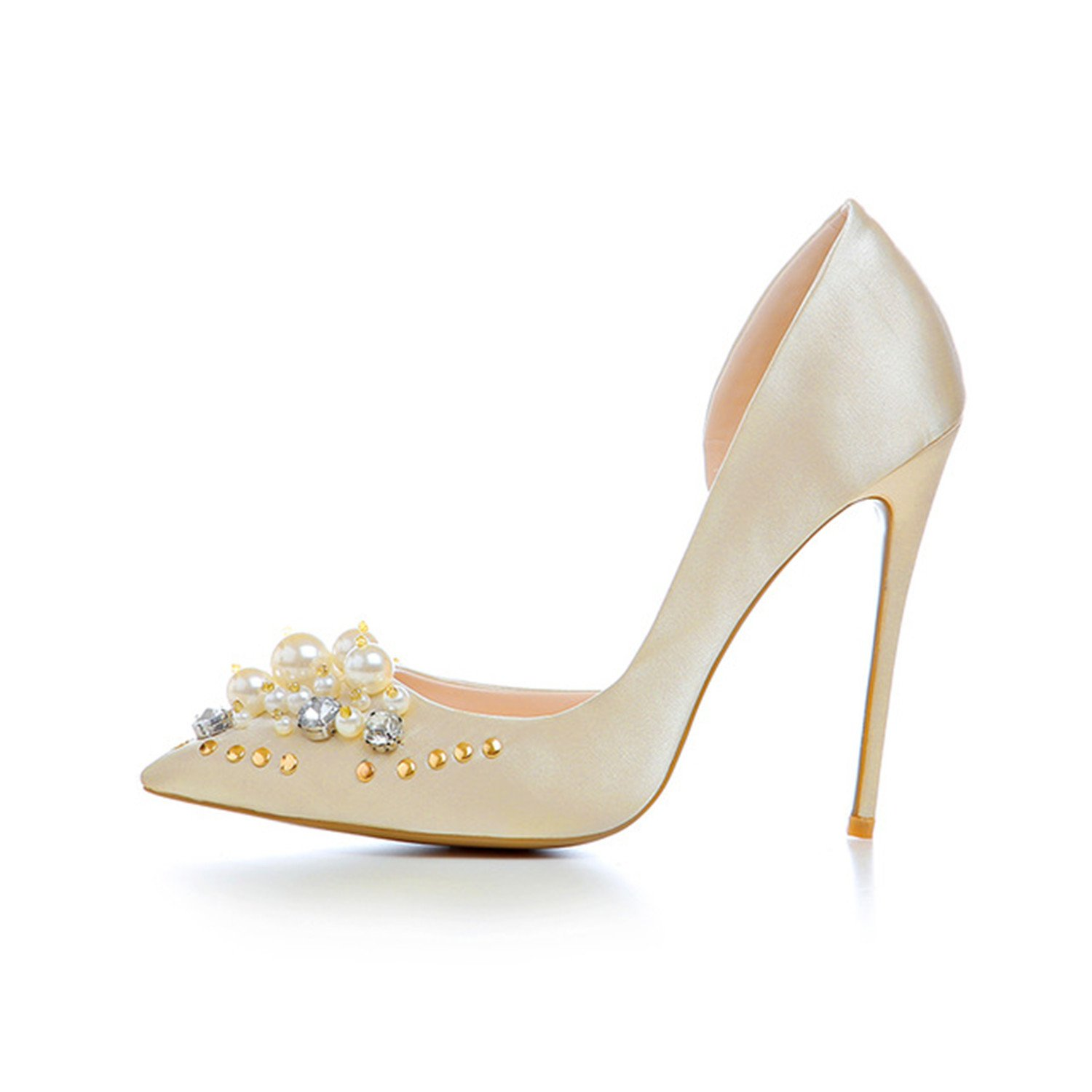 Sville Mary Extreme High Heels Party Stiletto Slip On Pearl Flower Wedding Dress Shoes