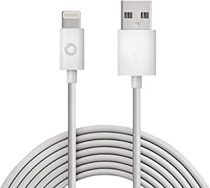 Noubco Lightning to USB Cable | Apple MFi Certified | Compatible with iPhone, iPad, iPod Touch, and Beats Pill+ | White, 6.6 feet (2 Meter)