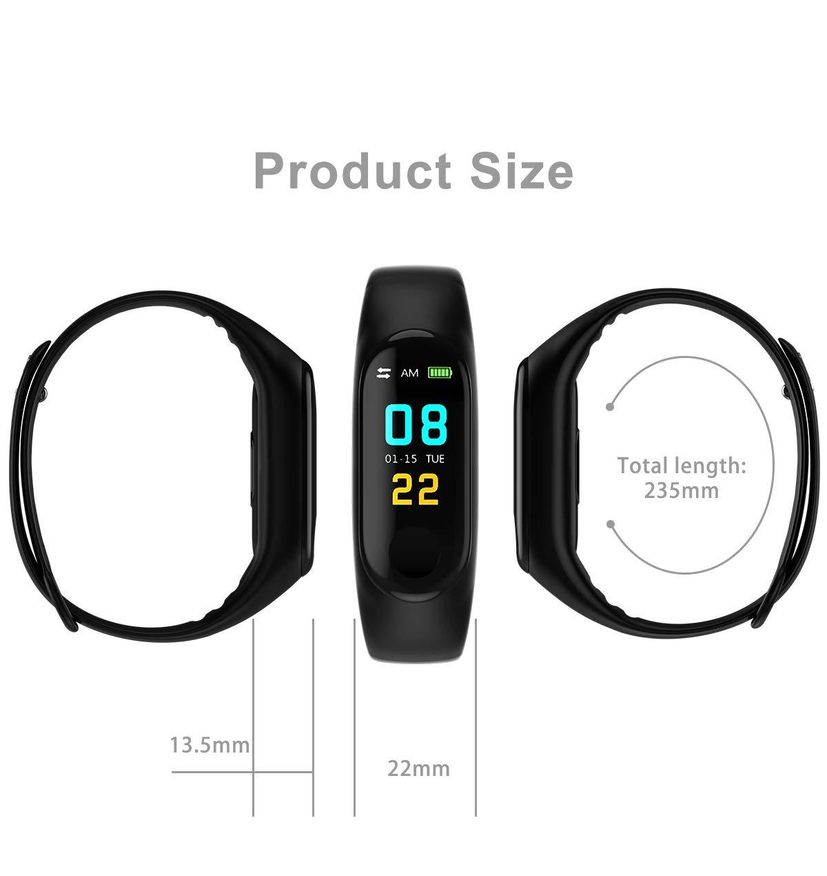 SAILINE Fitness Tracker Heart Rate Fitness Wristband Smart Watch Waterproof IPX6 Activity Tracker Blood Pressure Smart Bracelet with Stopwatch Sport GPS Pedometer Women Men (Black)