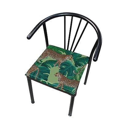 FICOO Home Patio Chair Cushion Animal Leopard Banana Leaf Square Cushion Non-Slip Memory Foam Outdoor Seat Cushion, 16x16 Inch: Home & Kitchen