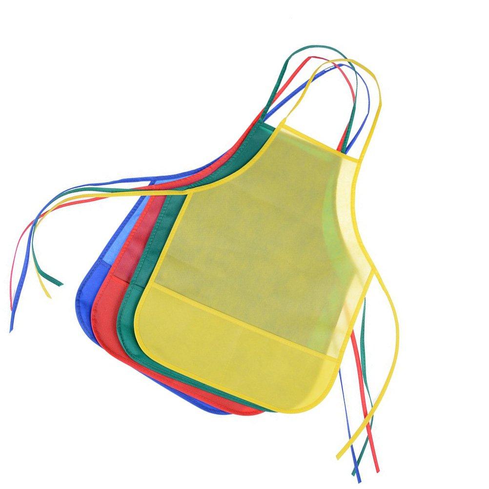 Un Conjunto de 12 Piezas con 6 Colores Delantales de Textil no Tejido para el Aula de Actividades de Pintura y Arte Hemore Delantal para ni/ños Eventos comunitarios y Cocina