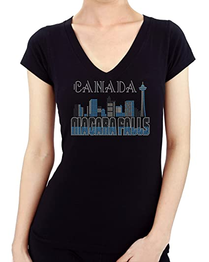 f28139728727 Image Unavailable. Image not available for. Color  NIAGARA FALLS CANADA  VIEW Rhinestone  Stud Women s T-Shirts