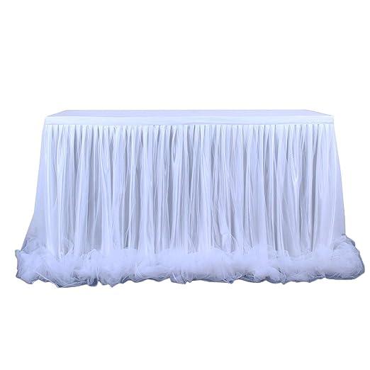 Amosfun Falda de mesa de tul blanca para rectángulo o mesas ...