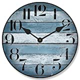 The Big Clock Store Nantucket Blue Wall Clock, Available in 8 sizes, Most Sizes Ship 2-3 days, Whisper Quiet.