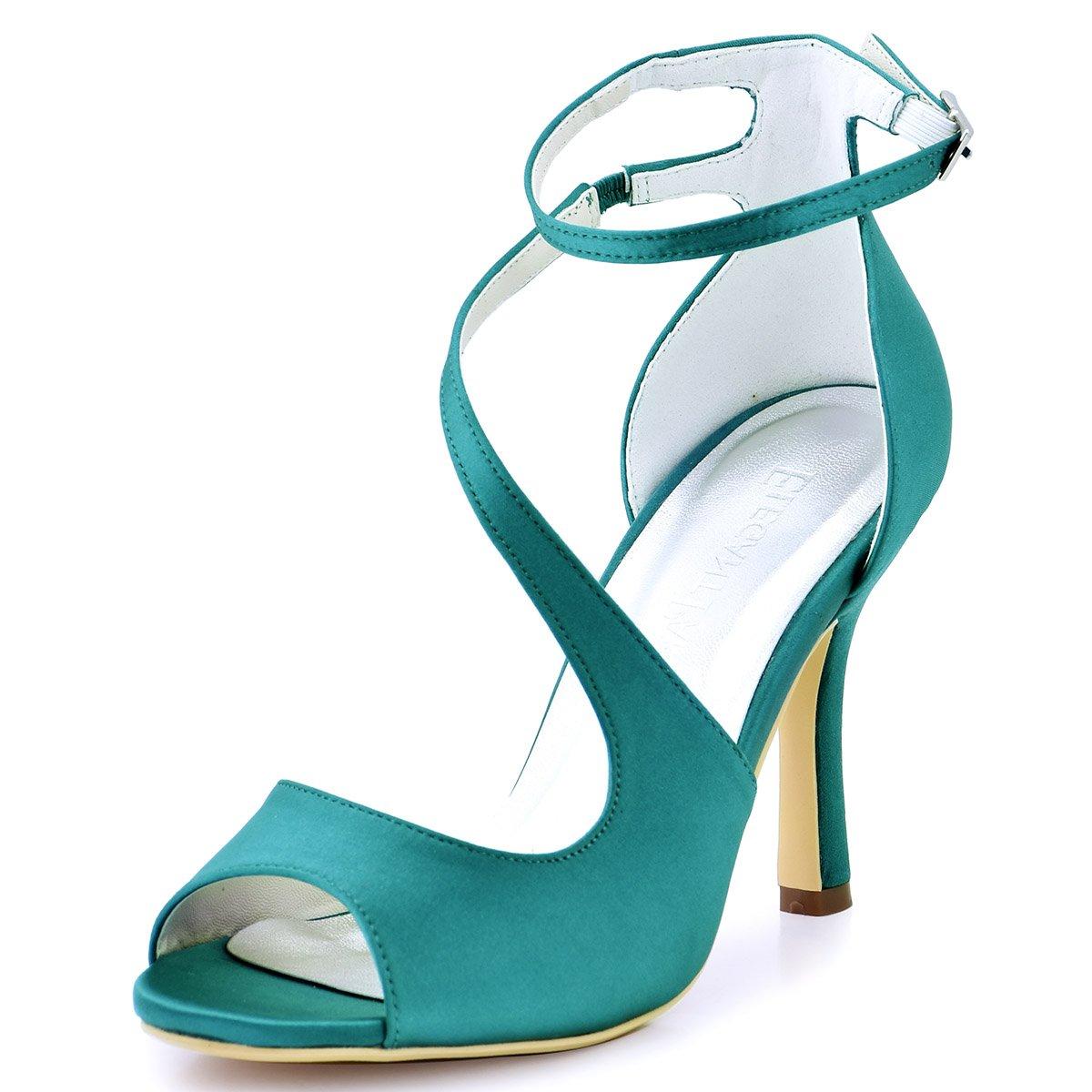 ElegantPark HP1505 Chaussures Escarpins Femme B07HCHZ647 Bout Ouvert Diamant Btide Cheville mariee Boucle Sandales Chaussures de mariee Bal Satin Teal 3ce1537 - jessicalock.space