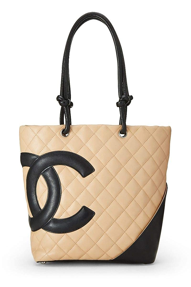 CHANEL Beige Quilted Calfskin Cambon Ligne Tote Small (Pre-Owned)