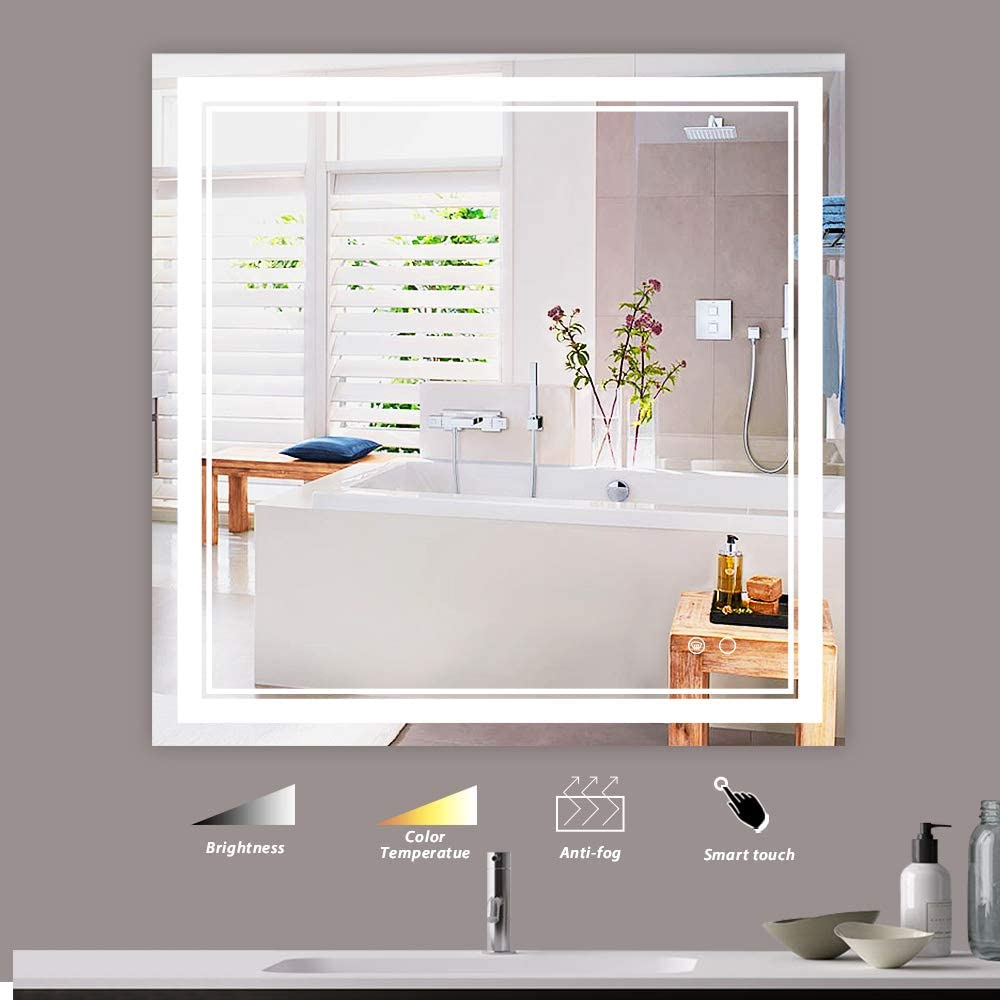 Amazon Com Keonjinn 36 X 36 Inch Led Vanity Mirrors Bathroom Wall Mounted Adjustable Yellow Warm White Natural Lights Anti Fog Touch Switch Makeup With Memory Mirror Home Kitchen