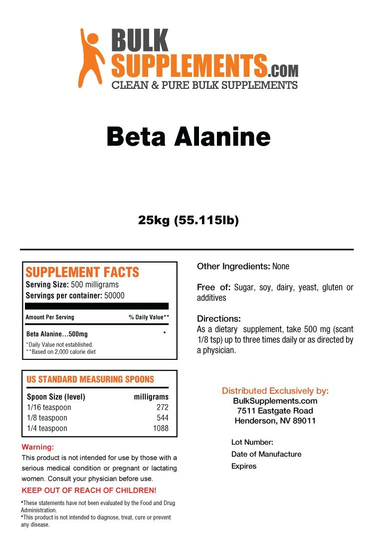 Beta Alanine Powder by BulkSupplements | Athletic Endurance & Recovery (25 kilograms)
