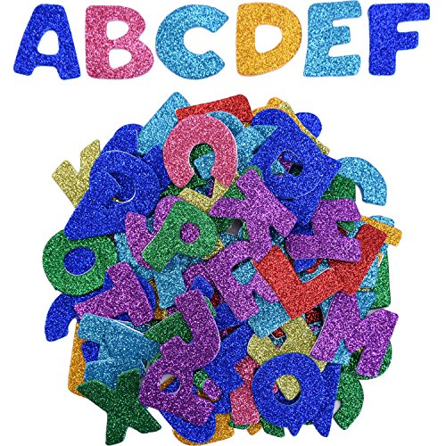 eBoot Glitter Foam Stickers Letter Sticker Self Adhesive Letters, Assorted Colors, 5 Sets