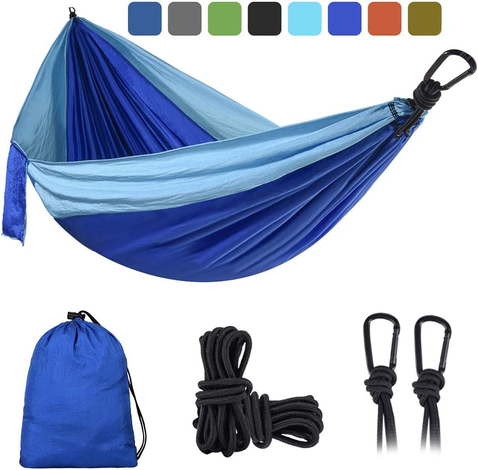 DONGOLO Double Single Camping Hammock Lightweight Portable Parachute Nylon Hammock Set for Indoor and Outdoor