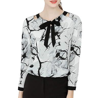 Kingwo - Camiseta de chifón para Mujer, Informal, Suelta, para ...