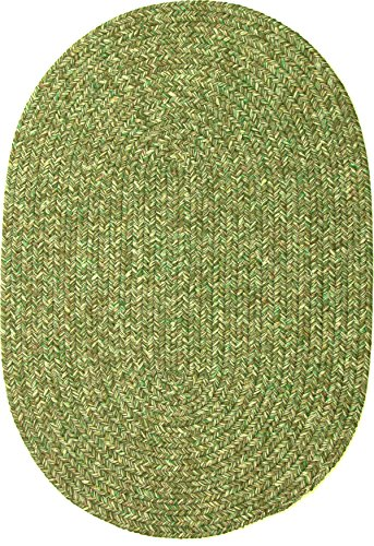 Sabrina Tweed Indoor Outdoor Oval Braided Rug, 4 by 6-Feet, Bay Leaf