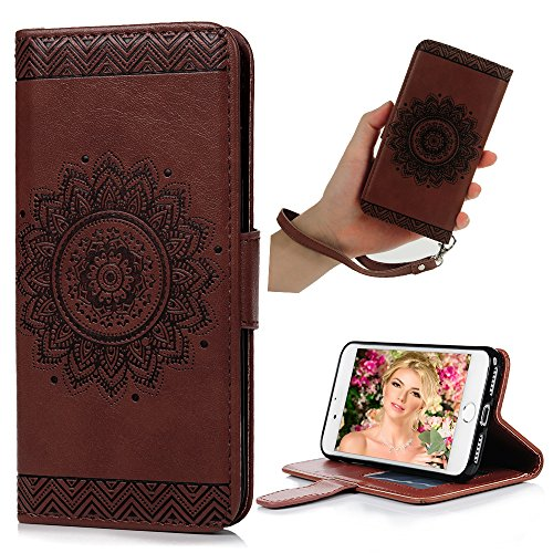iPhone 7 Wallet Case, iPhone 8 Case, YOKIRIN PU Leather Dream Catcher 3D Relief Totem Embossed Folio Flip Full Protective Cover with Credit Card Holder Kickstand Magnetic Closure for iPhone 7, Brown ()