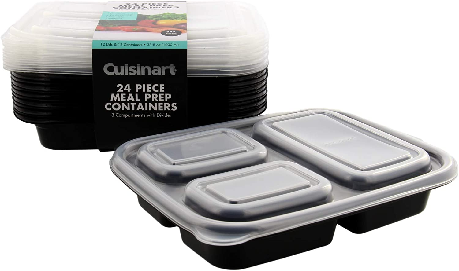 Cuisinart 3 Compartment Meal Prep Containers, 24 Piece, Set of 12 BPA Free Food Storage Containers with Lids-Reusable, Stackable Bento Box Containers-Microwave, Dishwasher, Freezer Safe-Black, 33.8oz