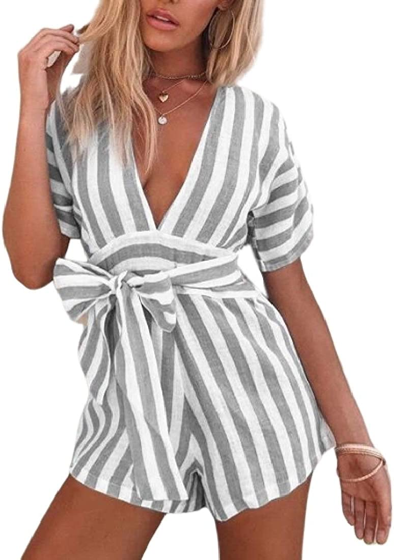 Fubotevic Women Deep V Neck Belted Short Sleeve Striped Basic Short Rompers