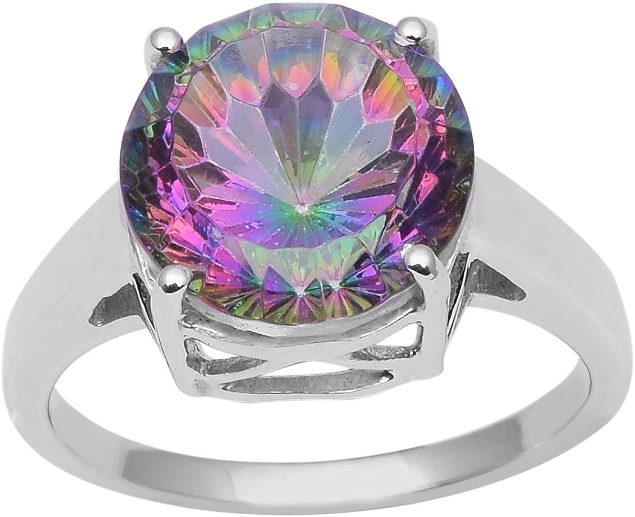 Shine Jewel Juego de Anillos de Promesa de halo de Plata esterlina con topacio místico y Piedras Preciosas en Plata de Ley 925 (N 1/2)