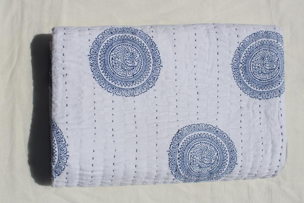 """Hand Made Cotton Indian Kantha Quilted Kantha Quilt Bed Spread Blanket Throw Indian Queen Size White Base Size 90"""" X 108"""" By INDIAN CREATIONS"""