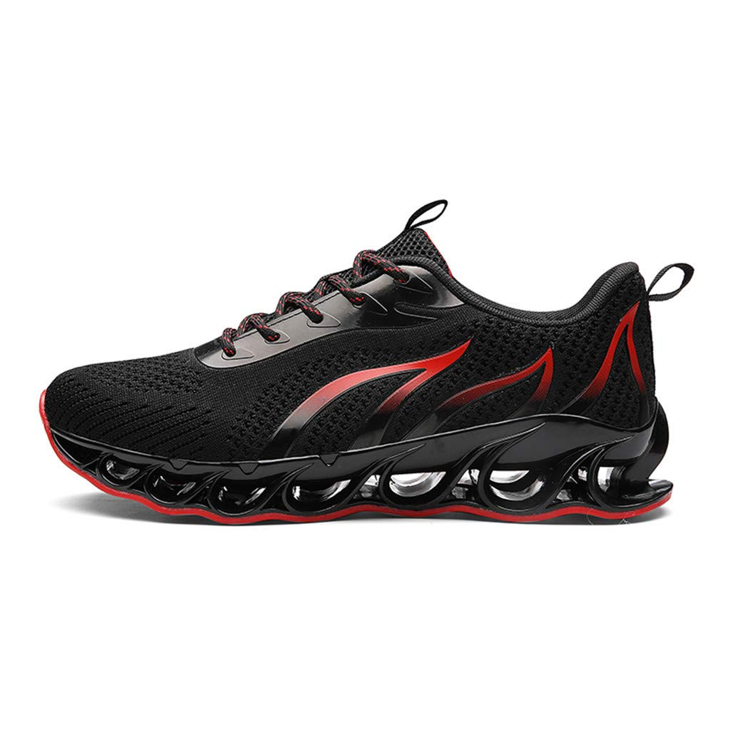 Men's Sneakers Breathable Shock Absorption Lightweight Running Climbing Slip On Shoes Black