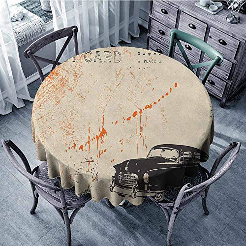 (Camping Round Tablecloth Picnic Cloth Vintage Car,Art with Classic Old Fashioned Car on The Street Vintage Postcard Style Design, Beige Black Diameter 70