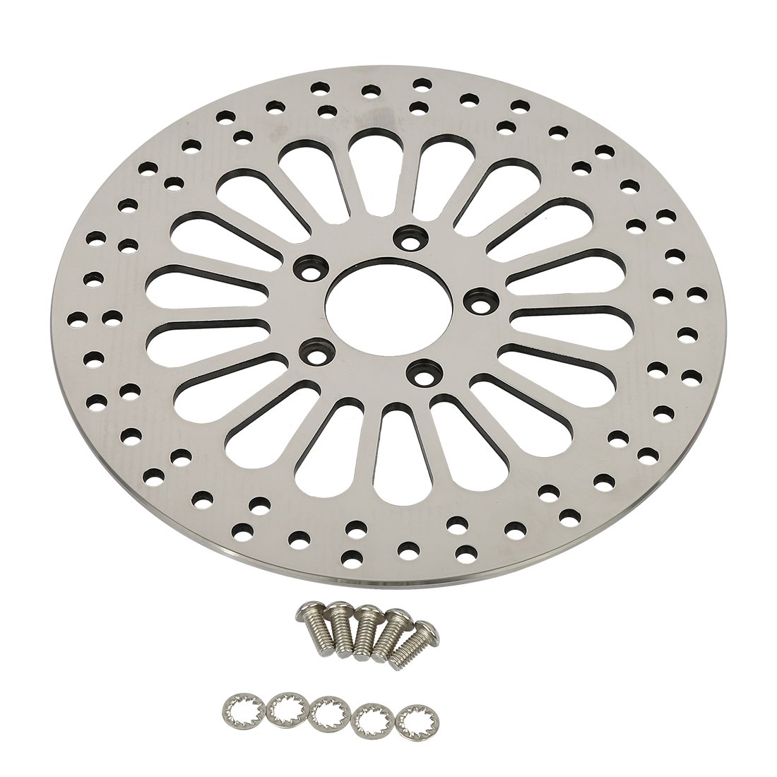 SHARKROAD 11.8'' Front Brake Rotors and Bolts Set Disc Super Spoke Polished 2008-2013 Harley Touring