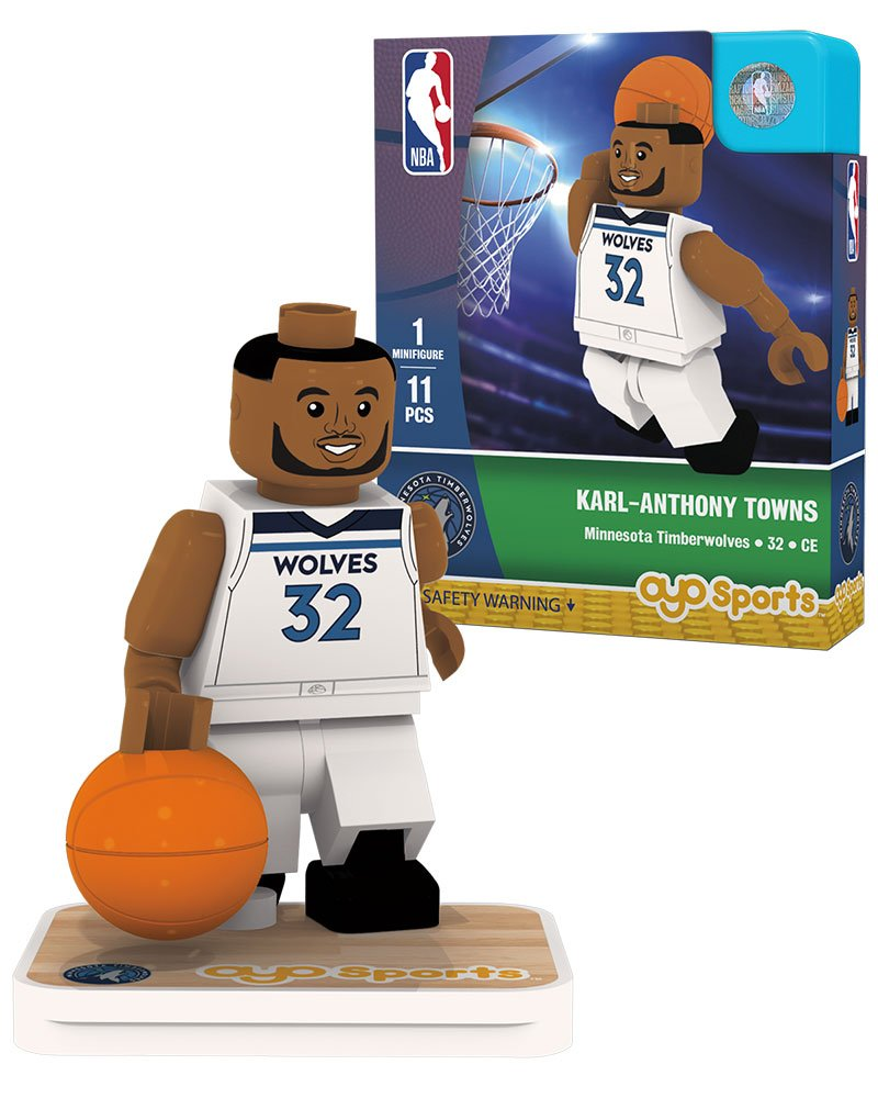 OYO NBA Minnesota Timberwolves Karl-Anthony Towns Association Home Uniform Minifigure, Small, No Color