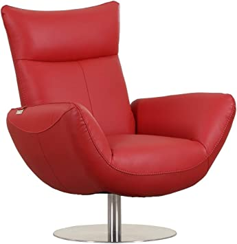 Amazon Com Blackjack Furniture C74 Skyline Collection Modern Italian Leather Top Grain Swivel Lounge Chair Red Kitchen Dining