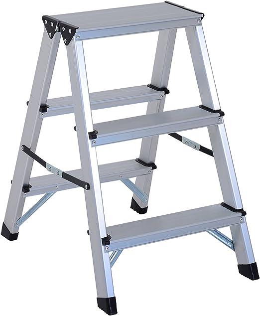 HOMCOM Escalera de Tijera Aluminio Plegable Escalera Doméstica de ...