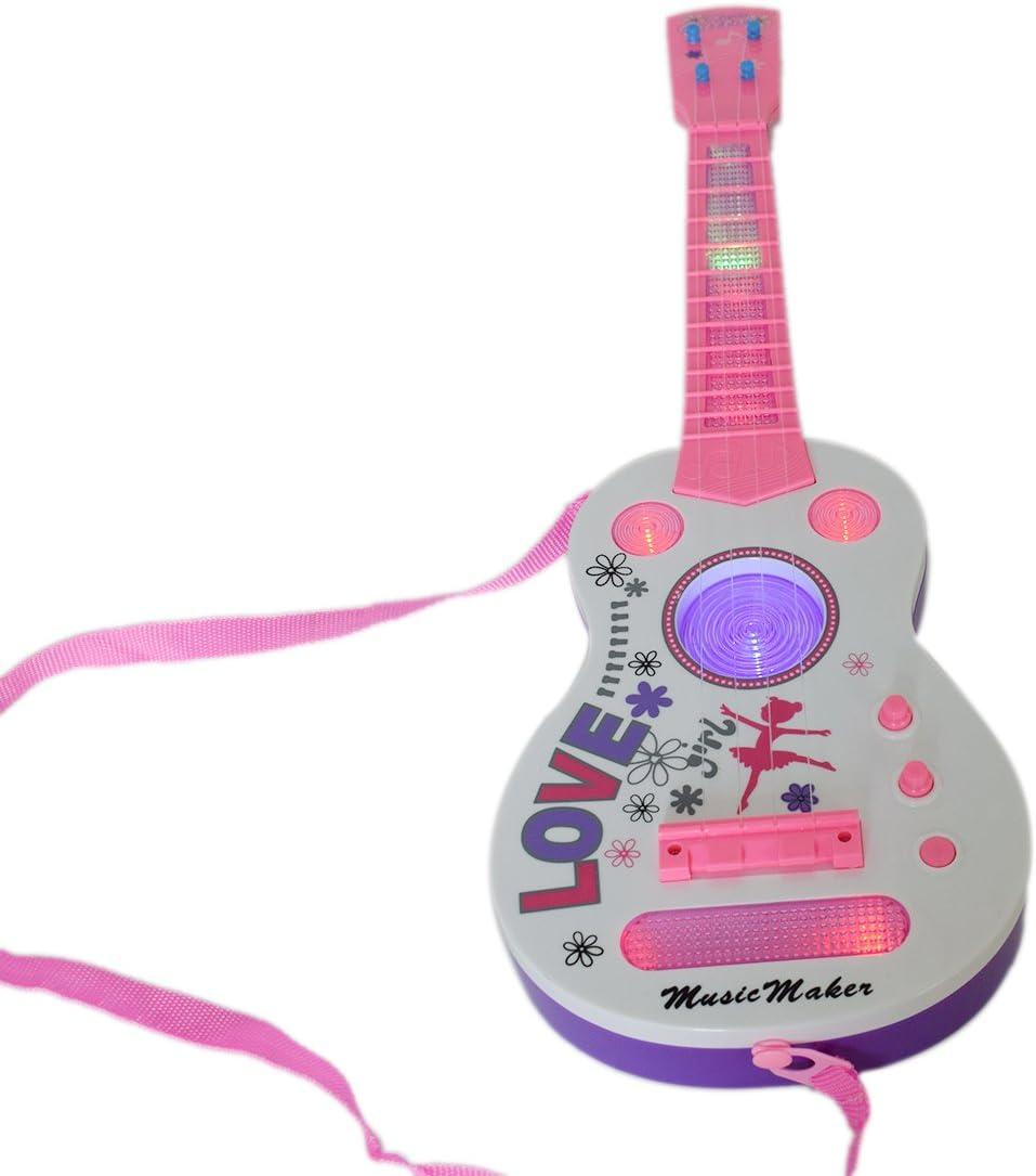 K9CK 4 Cuerdas Mini Guitarra Niños Instrumentos Musicales Juguete Educativo Guitarra Juguete con Sound y Luces- Rosa