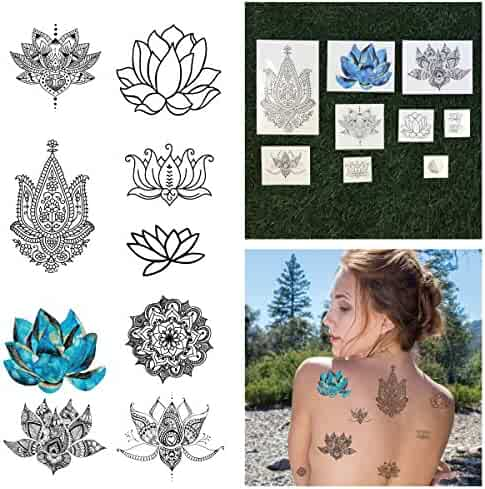 22912e0f7547c Tattify Assorted Lotus Flower Temporary Tattoos - Body, Mind and Spirit  (Complete Set of