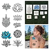 Tattify Assorted Lotus Flower Temporary Tattoos - Body, Mind and Spirit (Complete Set of 18 Tattoos - 2 of each Set) - Individual Styles Available and Fashionable Temporary Tattoos
